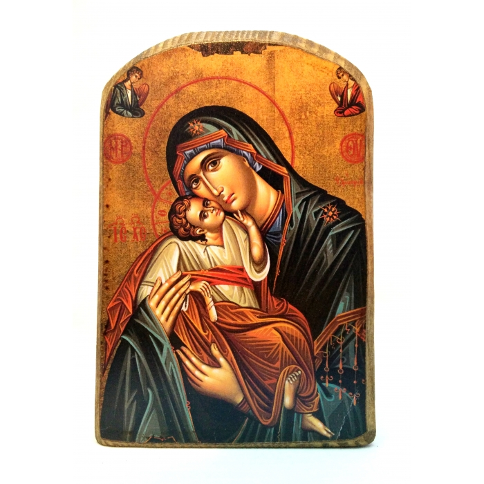 BOMBONNIERE WOODEN ICON MP2/6 VIRGIN MARY & JESUS CHRIST