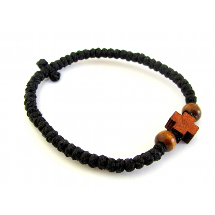PRAYER ROPE THIN BLACK WITH WOODEN TWO SIDED CROSS