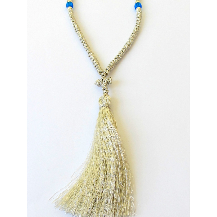 PRAYER ROPE 100 KNOTS GOLD THREAD - SILVER