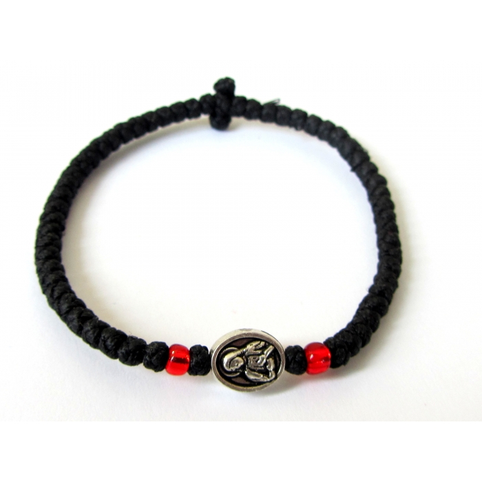 PRAYER ROPE THIN KNOTS WITH BLACK METALLIC ICON KX