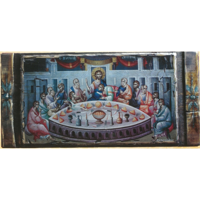 WOODEN ICON LAST SUPPER ON PAINTING CANVAS M75