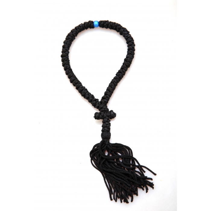 PRAYER ROPE 50 KNOTS BLACK WITH BLUE BEAD