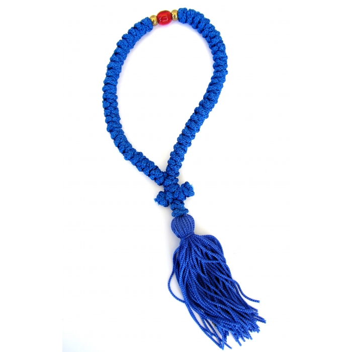 PRAYER ROPE 50 BLUE WITH RED BEAM