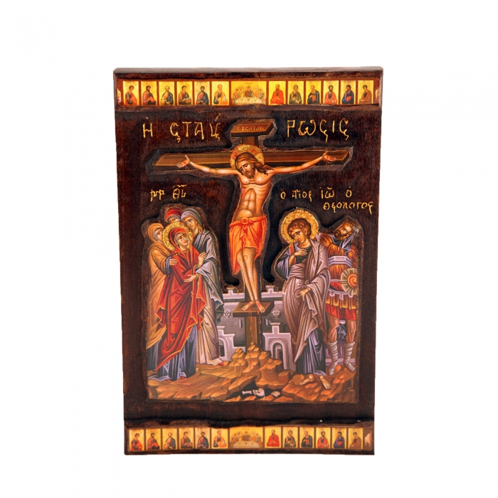 WOODEN ICON  THE CRUCIFIXION P3