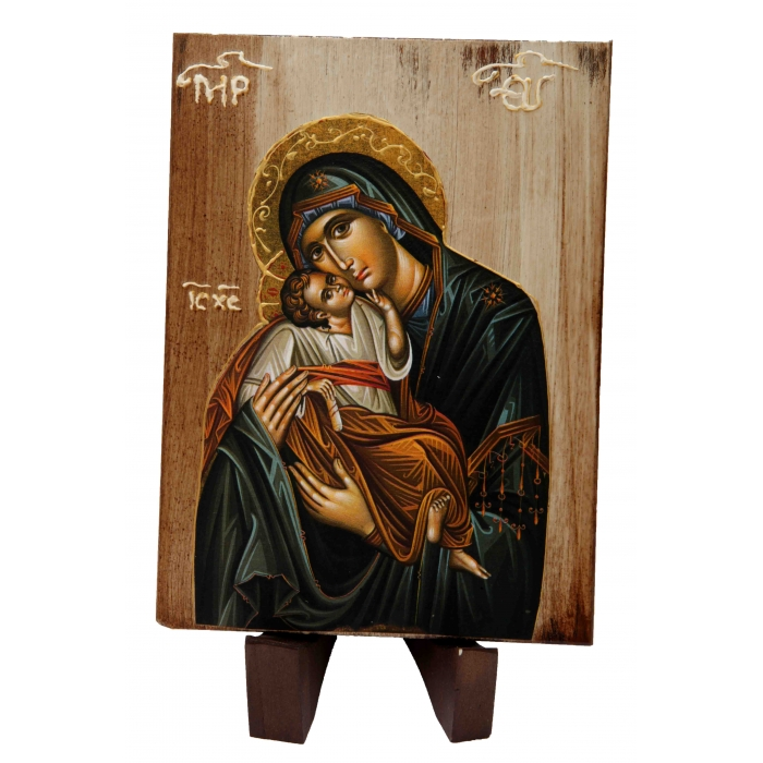 WOODEN ICON a2/1 VIRGIN MARY & JESUS CHRIST