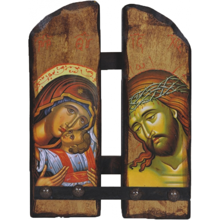 WOODEN ICON N16 JESUS CHRIST & VIRGIN MARY