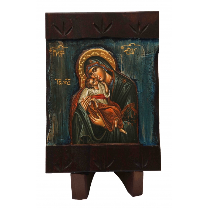 WOODEN ICON WITH VIRGIN MARY AND JESUS CHRIST M1