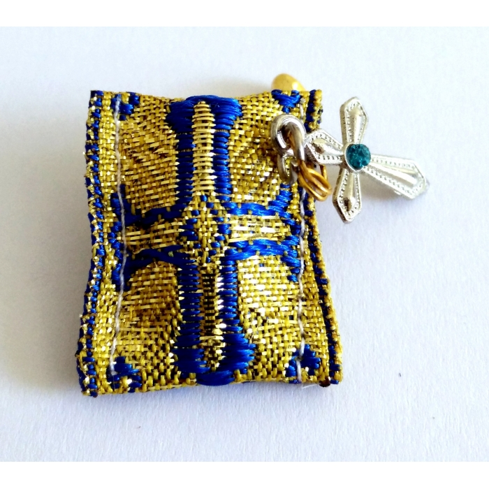TALISMAN WITH CROSS BLUE - GOLD