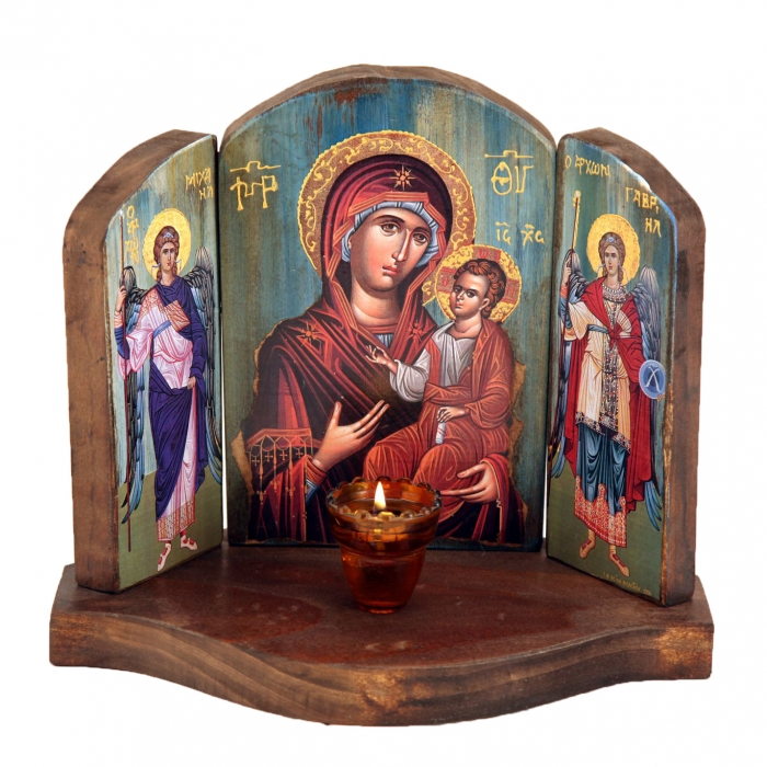 WOODEN ICON TRIPTYCH WITH VIRGIN MARY  JESUS CHRIST AND THE ARCHANGELS 2M