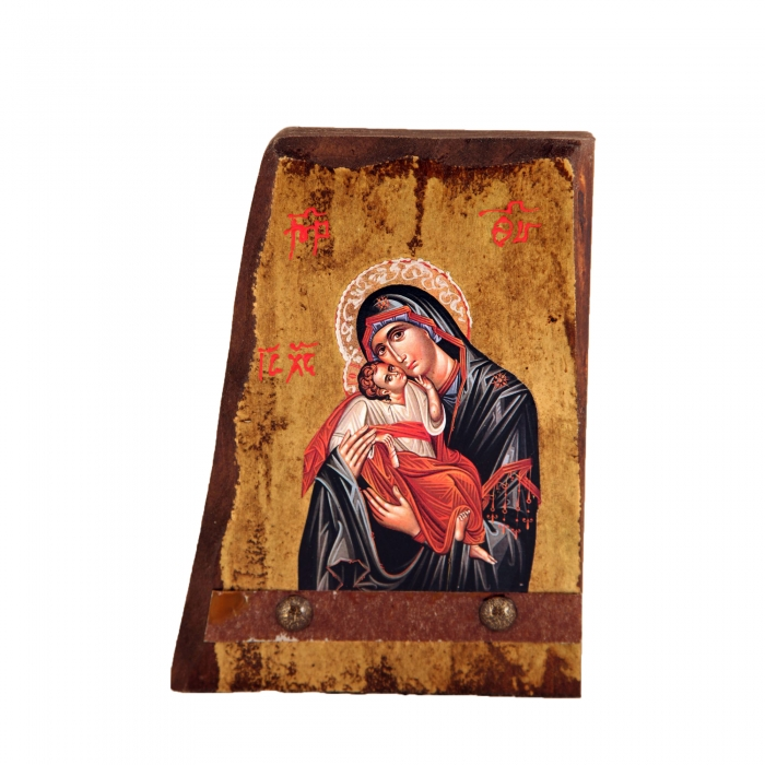 WOODEN ICON B5 VIRGIN MARY & JESUS CHRIST