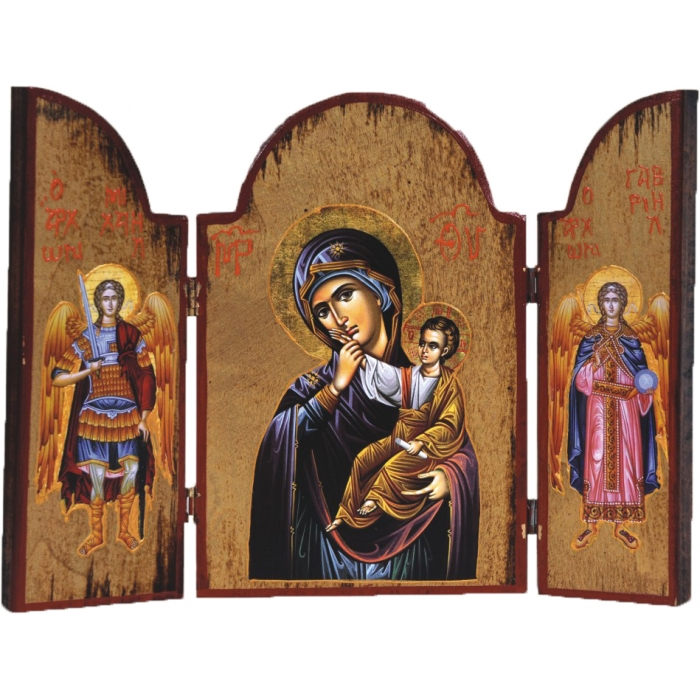 WOODEN ICON TRIPTYCH WITH VIRGIN MARY JESUS CHRIST AND THE ARCHANGELS 3AT-2