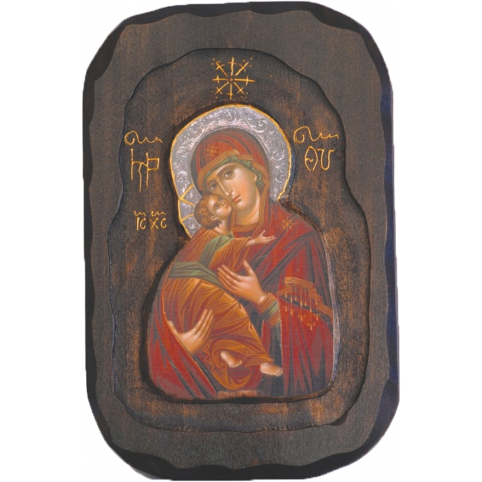 WOODEN ICON O2 VIRGIN MARY & JESUS CHRIST