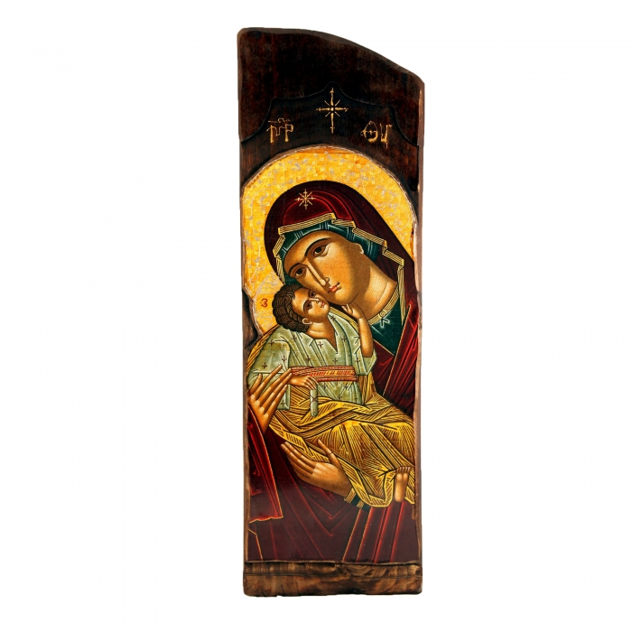 WOODEN ICON N4 VIRGIN MARY & JESUS CHRIST