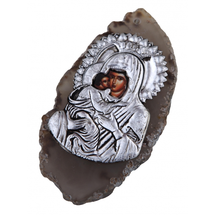 BOMBONNIERE AGATE WITH ICON no.2 VIRGIN MARY & JESUS CHRIST