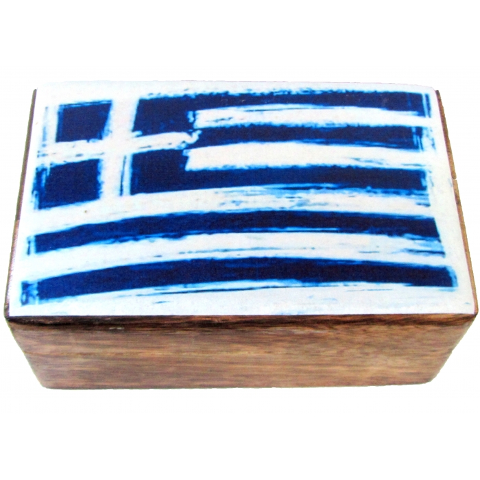 WOODEN STORAGE BOX WITH GREEK FLAG (R32_4)