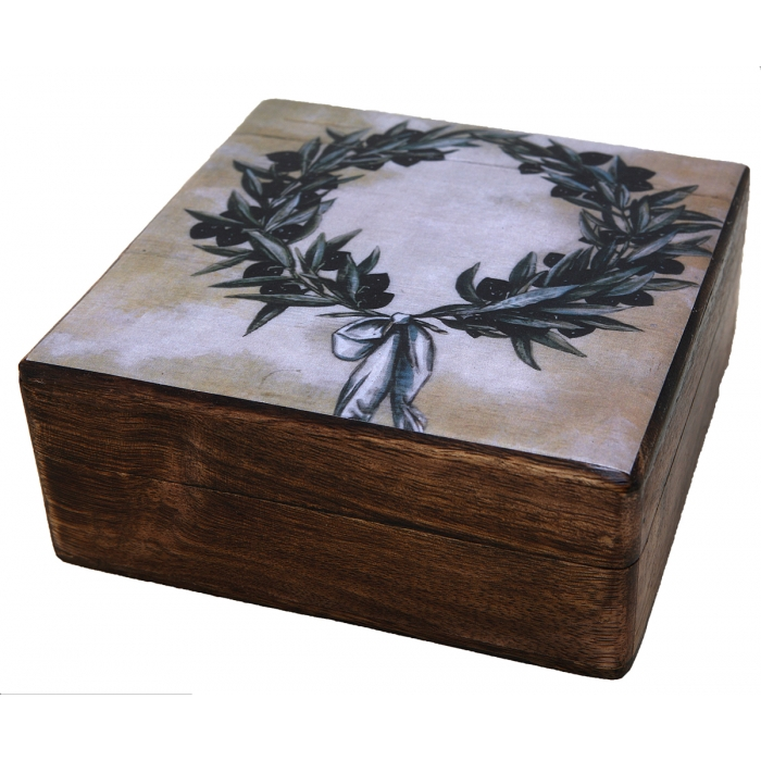WOODEN STORAGE BOX STORAGE BOX WITH OLIVE BRANCH (R31_3)