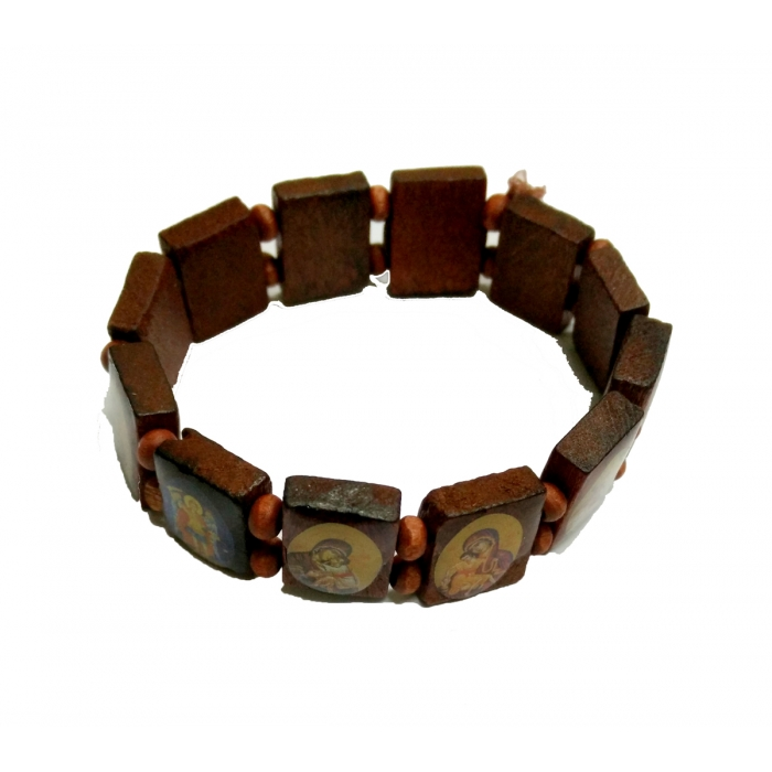 WOODEN BRACELET WITH SAINTS