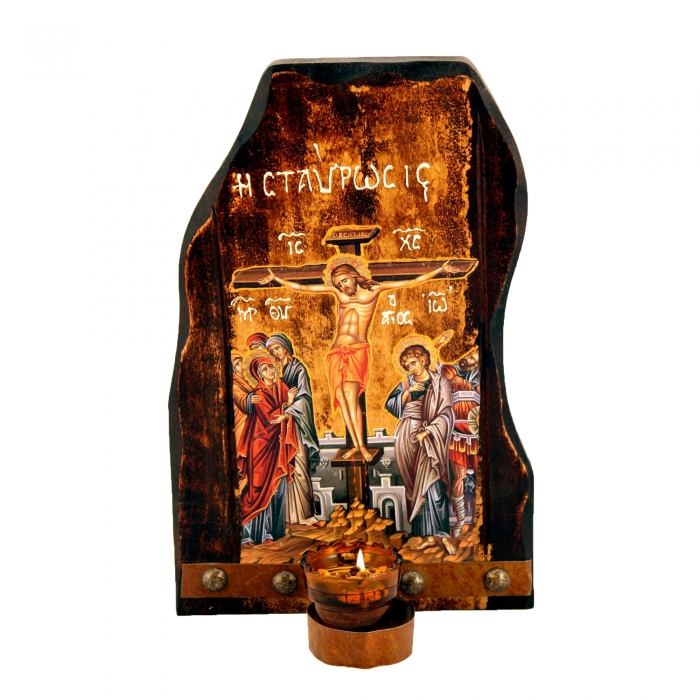TABLE OIL-LAMP 10 CRUCIFIXION