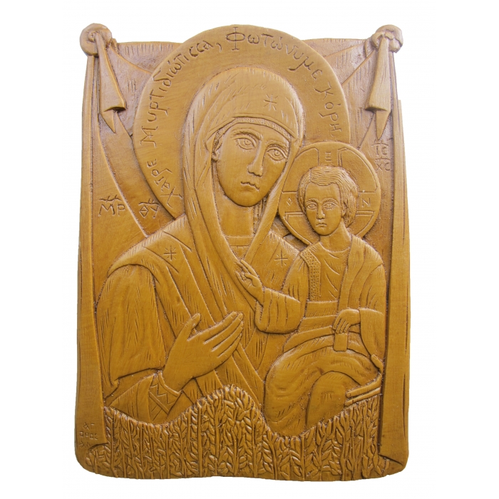 MONASTIC WAX ICON VIRGIN MARY GERONTISSA 13x18 cm