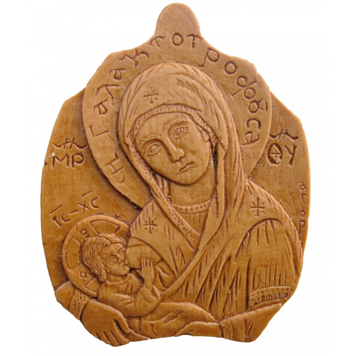 MONASTIC WAX ICON VIRGIN MARY GALATOTROFOUSSA 5x5 cm