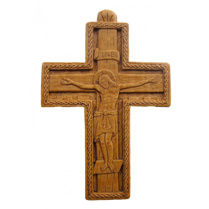MONASTIC CARVED WAX CROSS BYZANTINE 8x11 cm