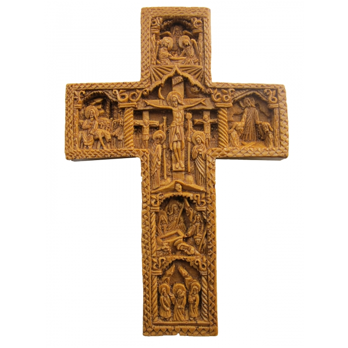 MONASTIC CARVED WAX CROSS 9x14 cm