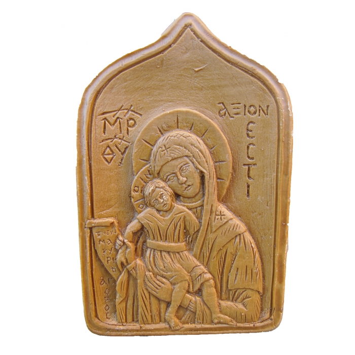 MONASTIC WAX ICON VIRGIN MARY AXION ESTI 8x5 cm