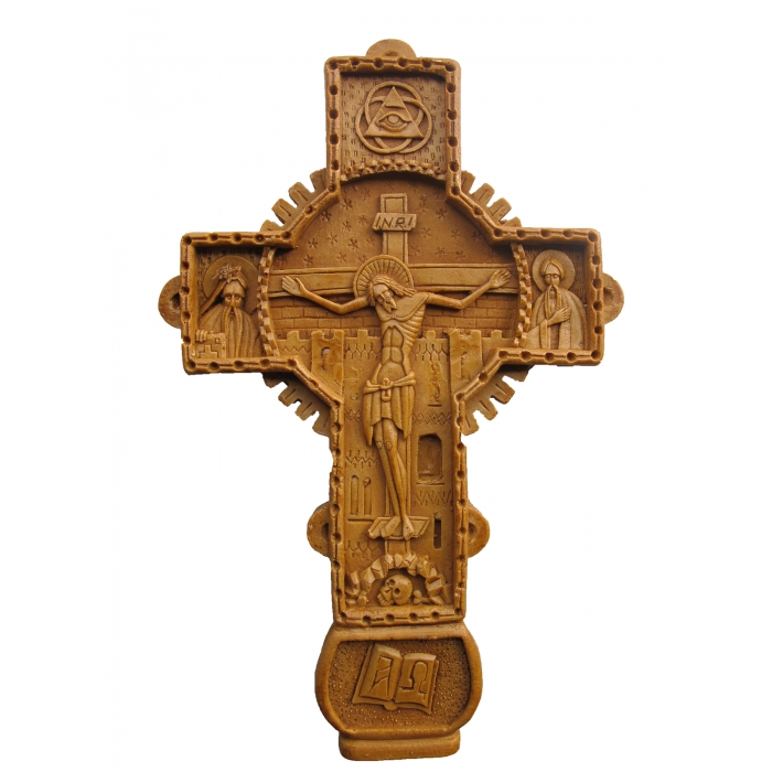 MONASTIC CARVED WAX CROSS 11x18 cm