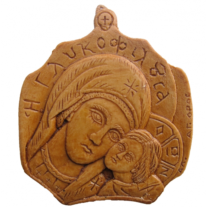 MONASTIC WAX ICON VIRGIN MARY GLYKOFILOUSSA 5x5 cm