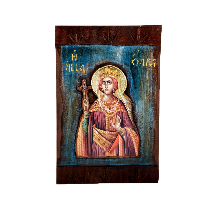 WOODEN ICON SAINT OLGA M1