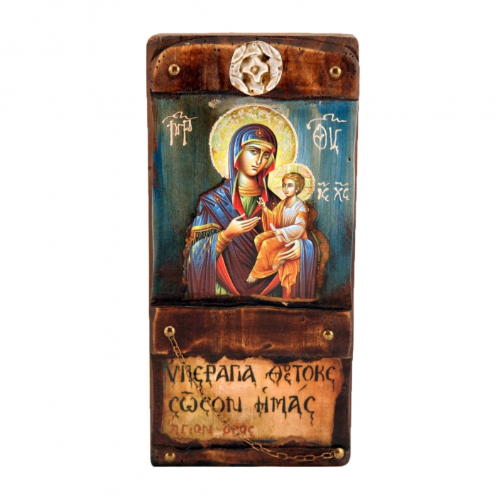 WOODEN ICON L11 VIRGIN MARY & JESUS CHRIST
