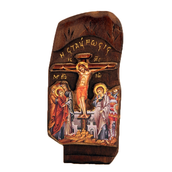 WOODEN ICON THE CRUCIFIXION B1