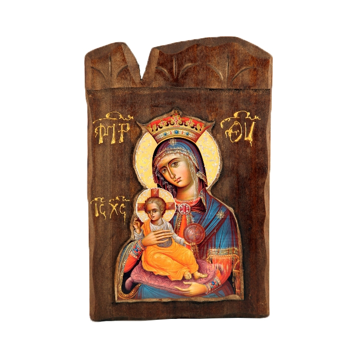 WOODEN ICON  L3 VIRGIN MARY & JESUS CHRIST