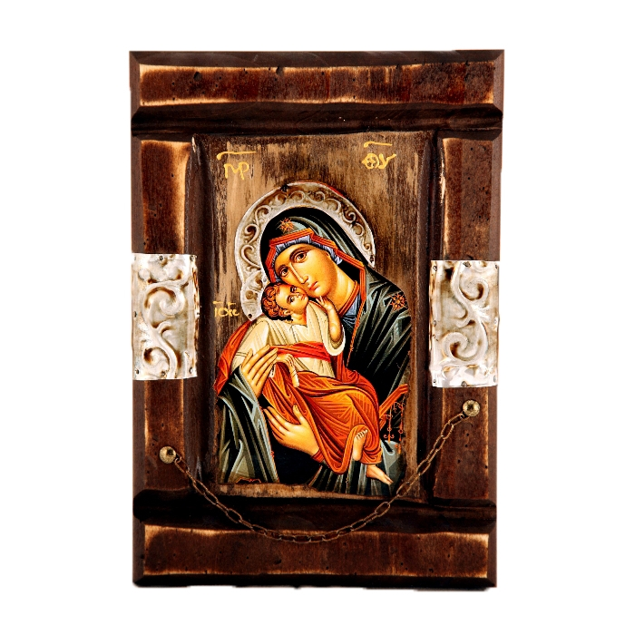 WOODEN ICON WITH VIRGIN MARY P12M