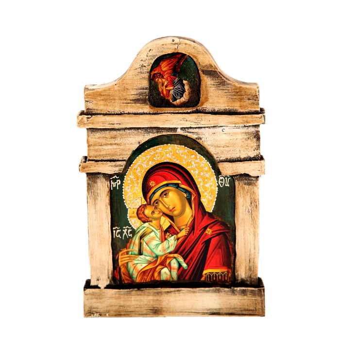 WOODEN ICON K20 VIRGIN MARY & JESUS CHRIST