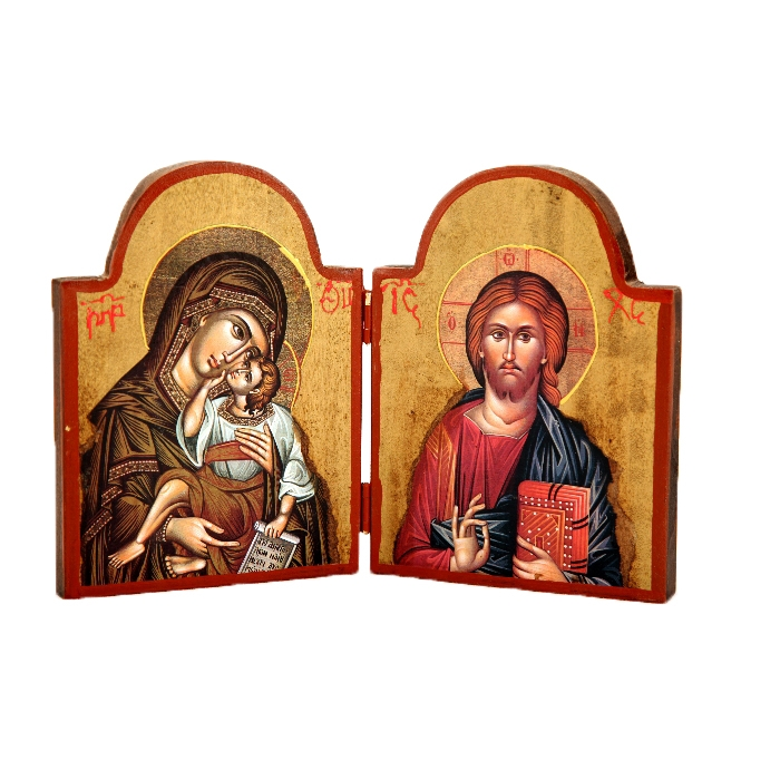 WOODEN DIPTYCH VIRGIN MARY & JESUS CHRIST 1X