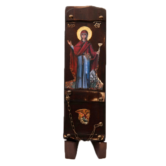 WOODEN ICON WITH VIRGIN MARY N7