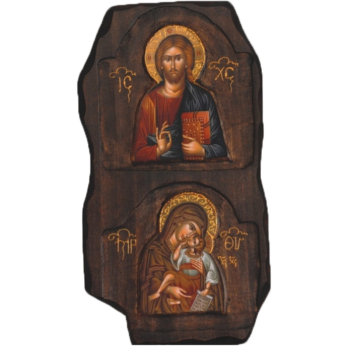 WOODEN ICON WITH VIRGIN MARY AND JESUS CHRIST B4 DIPLO