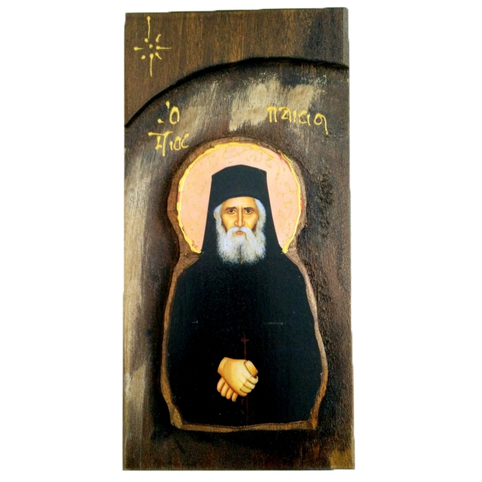 WOODEN ICON WITH SAINT PAISIOS N18L