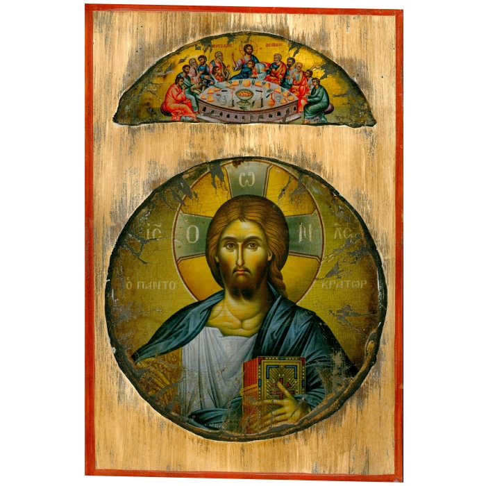WOODEN ICON WITH JESUS CHRIST ON PAINTING CANVAS M78 38x25 cm