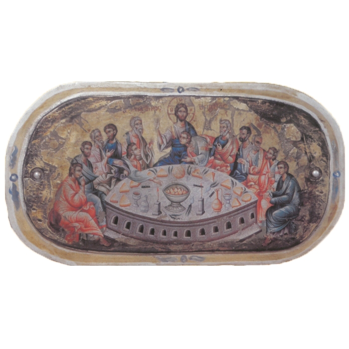 WOODEN ICON LAST SUPPER ON PAINTING CANVAS M30