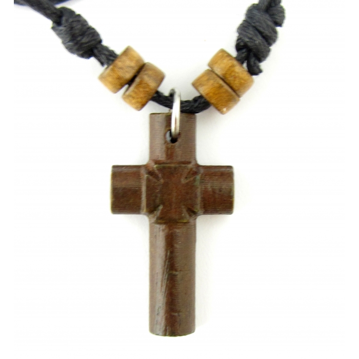 WOODEN ΤTWO SIDED CROSS PENDANT no.10