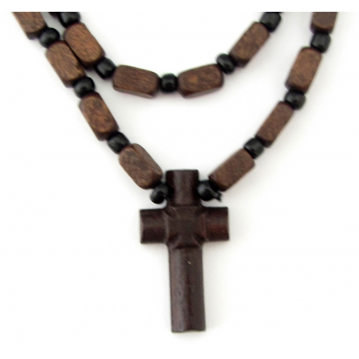 WOODEN TWO SIDED CROSS PENDANT no.7