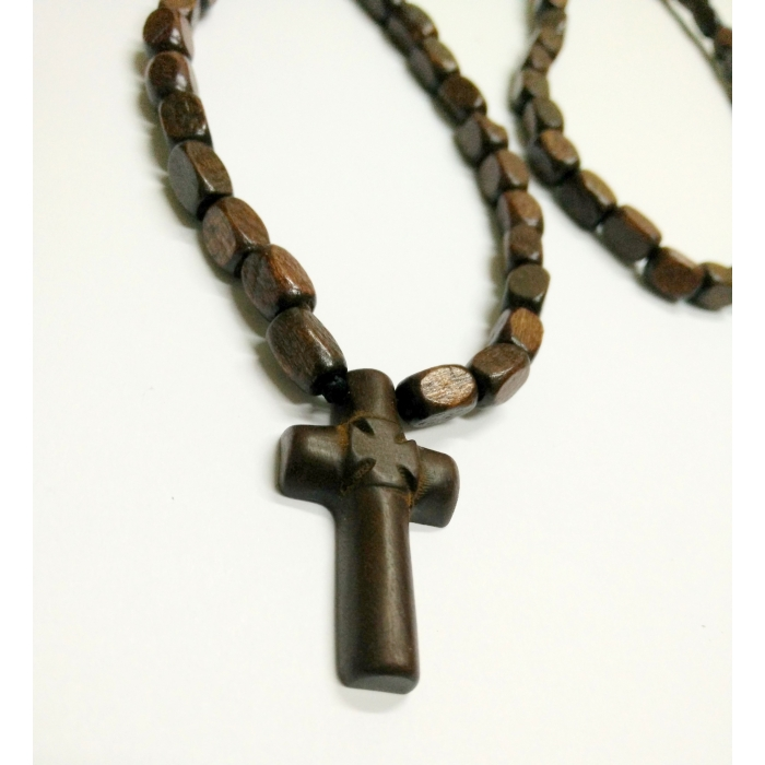 WOODEN TWO SIDED CROSS PENDANT no.11