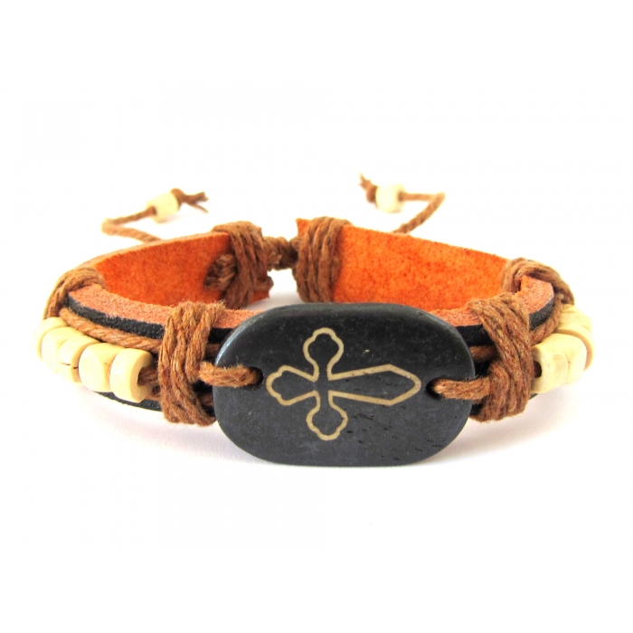 LEATHER BRACELET BROWN / 1