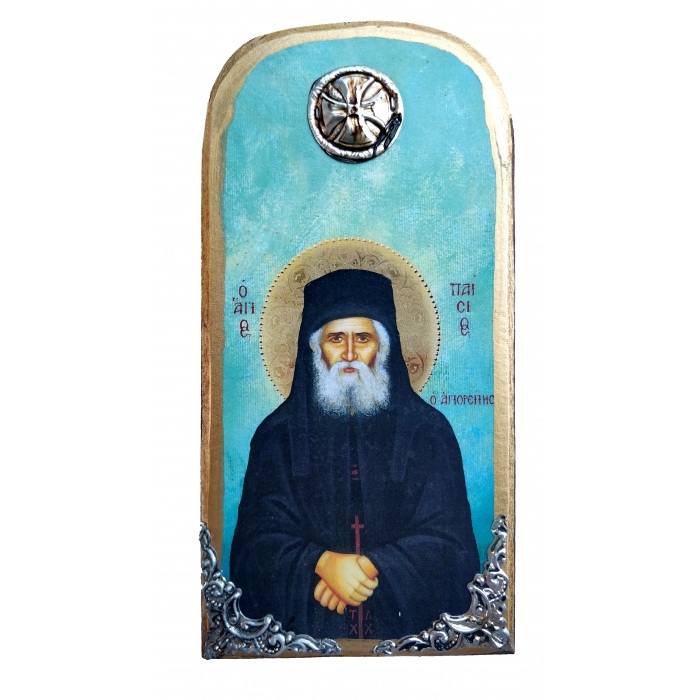 WOODEN ICON WITH SAINT PAISIOS OP10