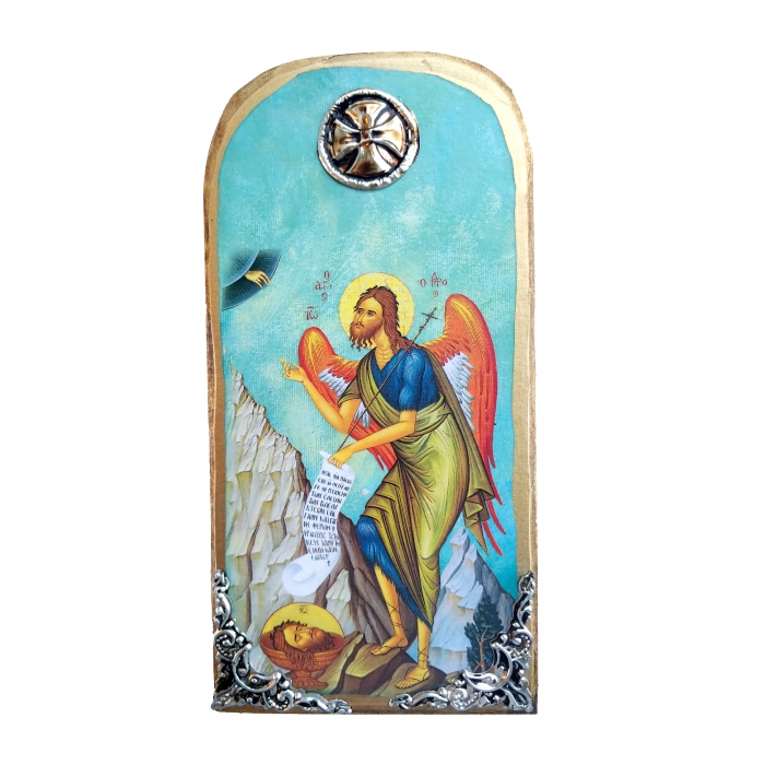6 Χ WOODEN ICON WITH SAINT JOHN THE BAPTIST OP10 30x14 cm