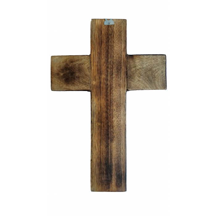 WOOD CARVED CROSS R 23