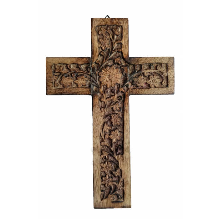 WOOD CARVED CROSS R 16