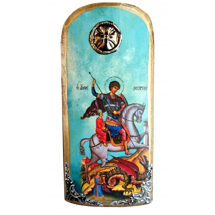 WOODEN ICON SAINT GEORGE K30 20x9 cm